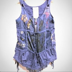 Desigual tank sleeveless embroidered top cami zip